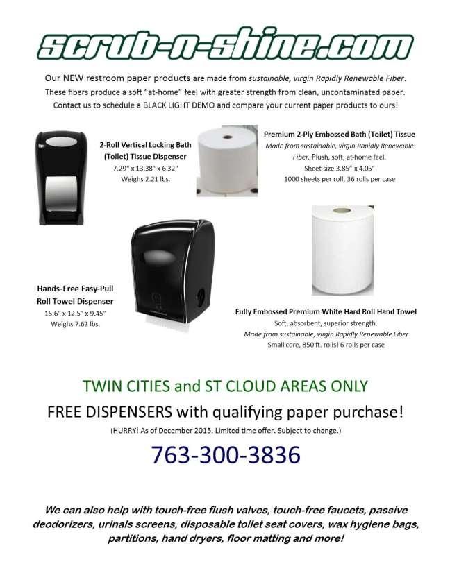 Scrub n Shine restroom paper flyer