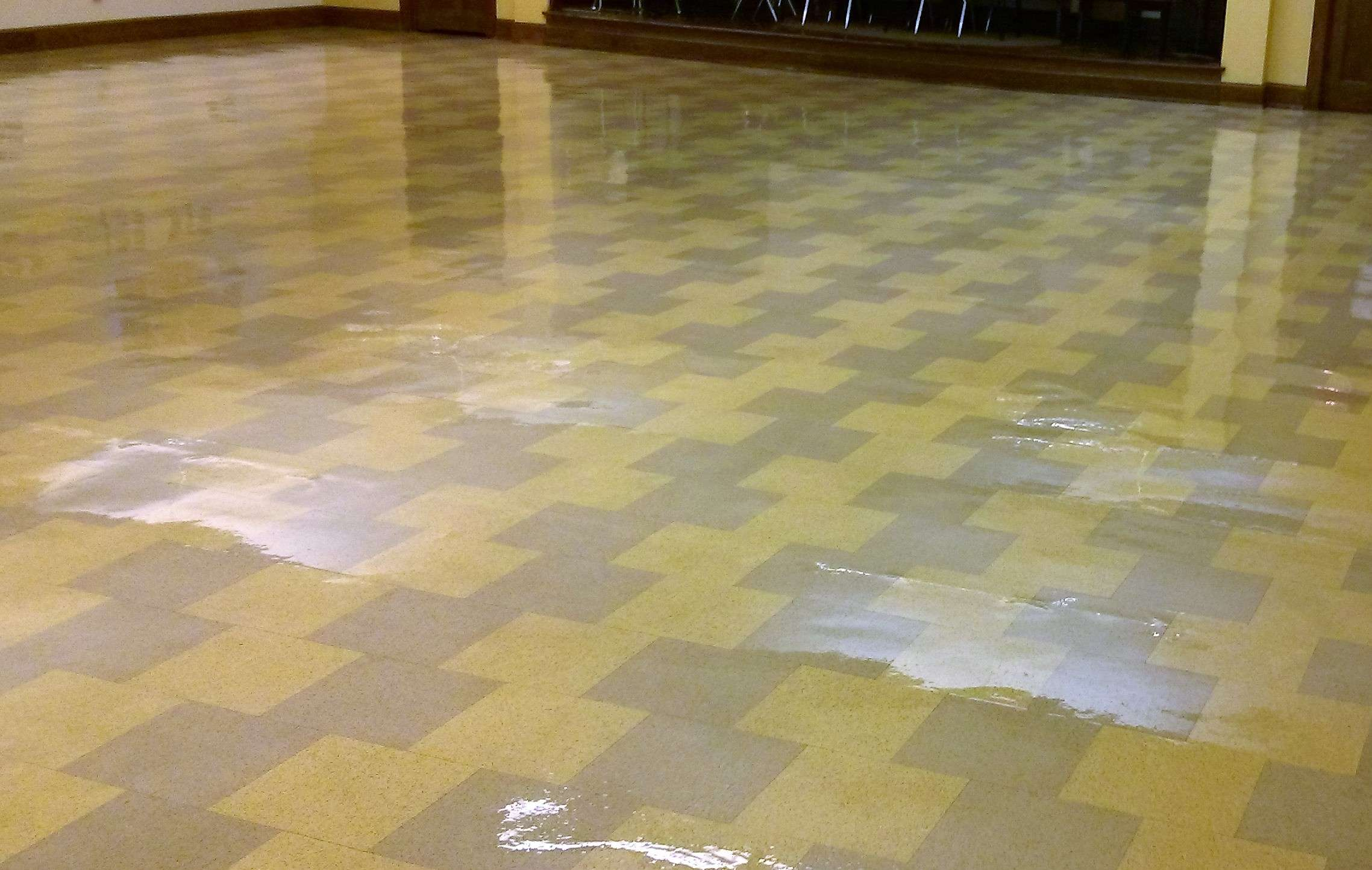 Restore shine to vinyl floor of old vct floor tile in minneapolis old vct floor tile stripped sealed finished in minneapolis banquet room dailygadgetfo Choice Image