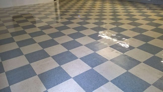 Old VCT Floor Restoration Barber Shop in Crystal MN