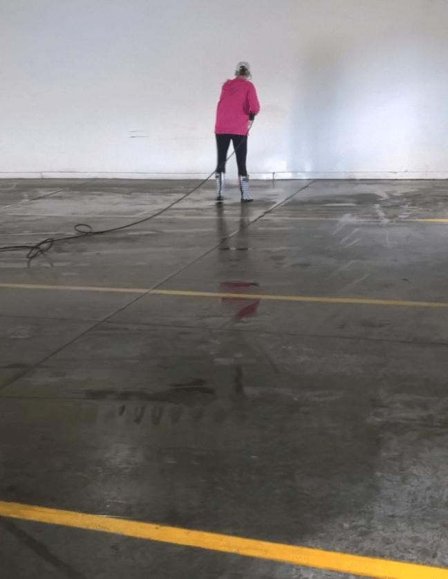 Parking Garage Floor Scrub and Pressure Washing Job in St Cloud MN