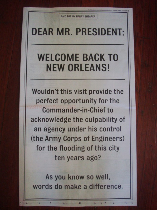 9th Ward Daily Photo: Harry Shearer's Full Page Ad