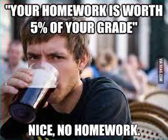 5% equals no homework