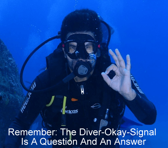 Remembering that the diver-okay-signal is a question and an answer