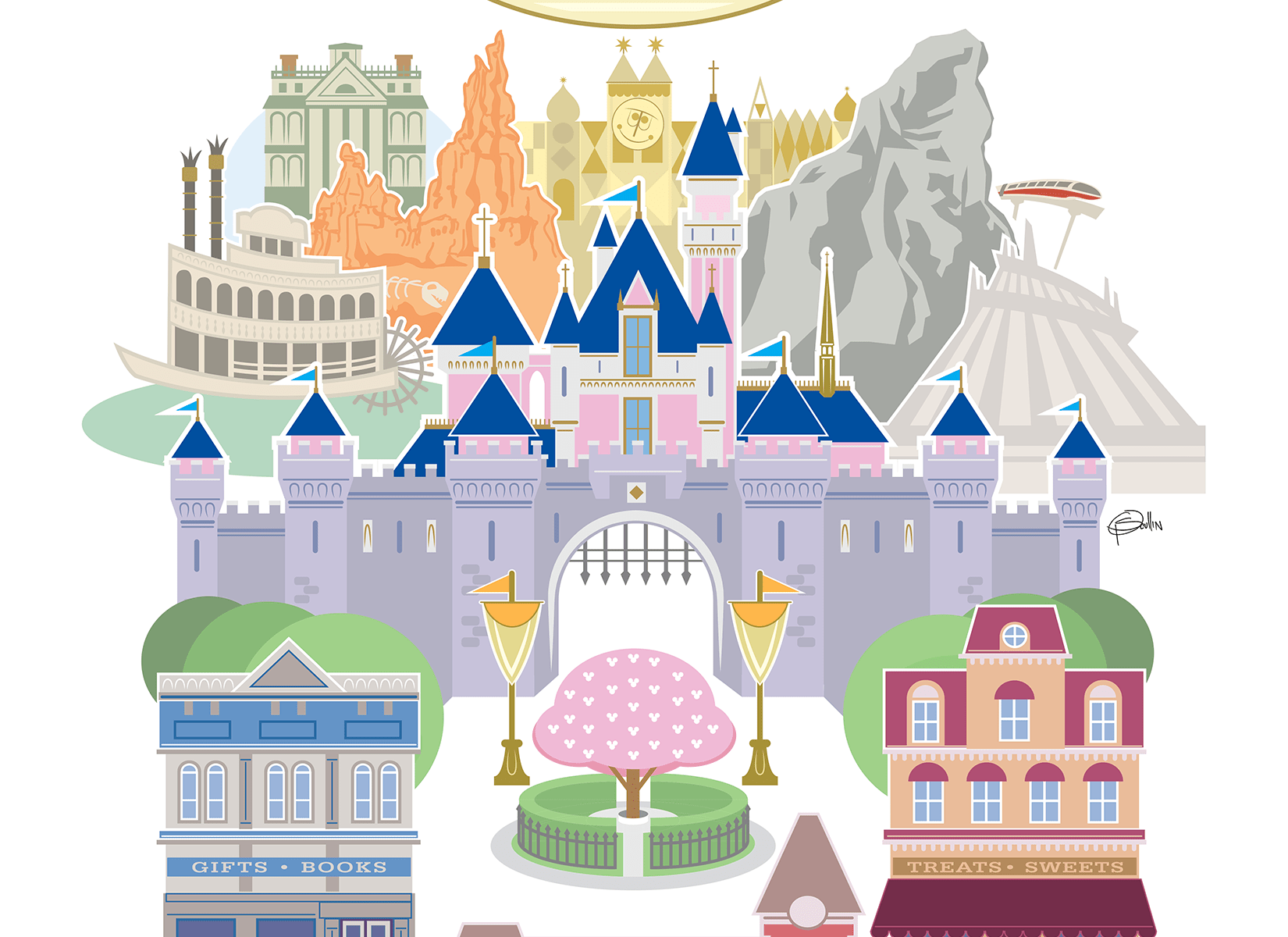 Happiest Place on Earth Disneyland 65th Anniversary Tribute Poster by Patrick Scullin