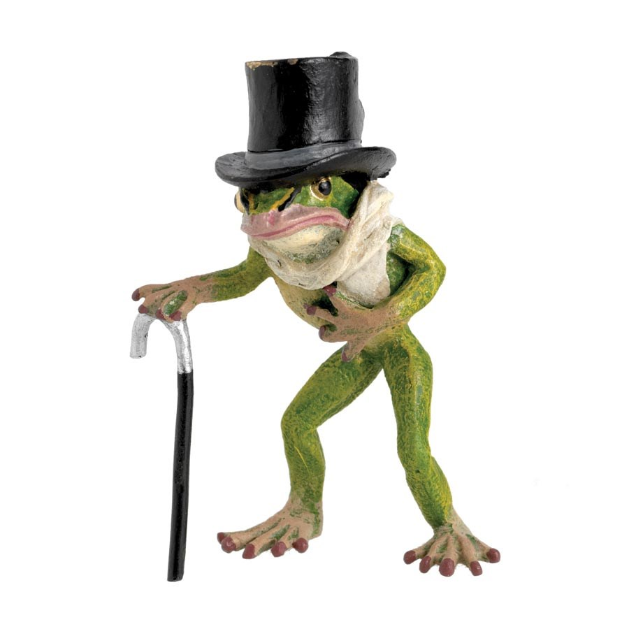 Austrian Bronze Frog With Top Hat Scarf Cane Bronze