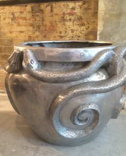 Aluminium Serpent Urn sculpture