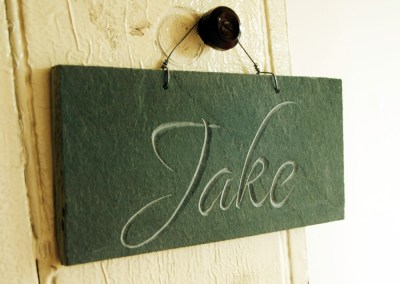 Jake carved slate name plaque