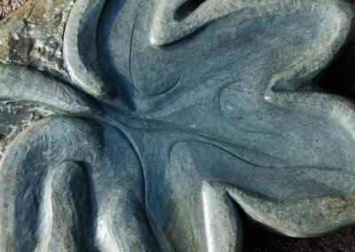 """Carved stone """"maple leaf"""" bird bath"""