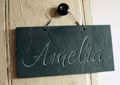 Hand-carved children's gift name slate