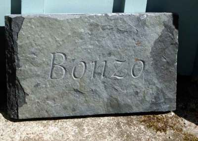 hand-carved pet dog memorials stone Bonzo
