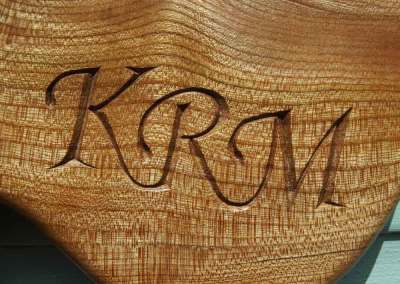 Hand-carved lettering on elm cheese board, wedding anniversary gift