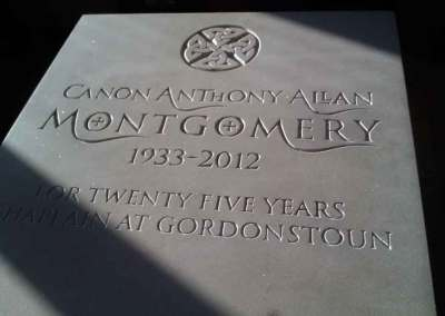 Sandstone headstone for Gordounstoun School Chaplain