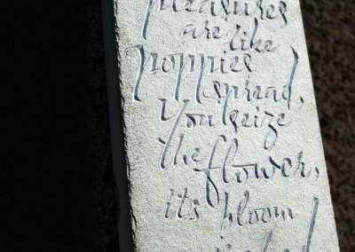 Hand-carved lettering stone Tam O'Shanter, Robert Burns