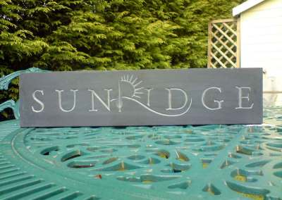 hand-carved lettering slate house sign Sunridge