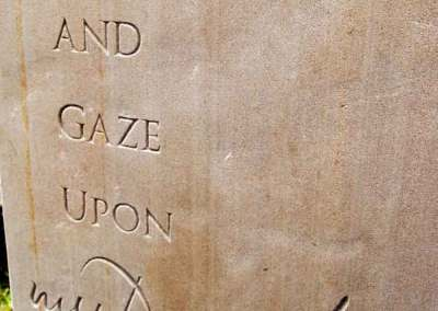 Hand-carved lettering memorial stone sandstone for actor Tom Fleming