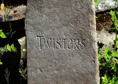 hand-carved pet memorial stone cat Twisters