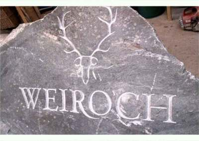 hand-carved lettering stone house sign Weiroch