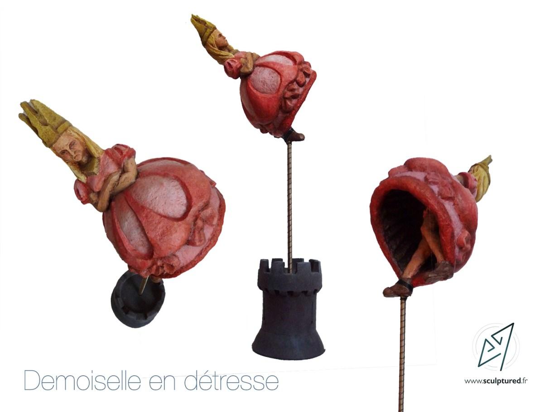 Demoiselle en detresse, 2017 (Papier mâché, acrylique, argile patiné)