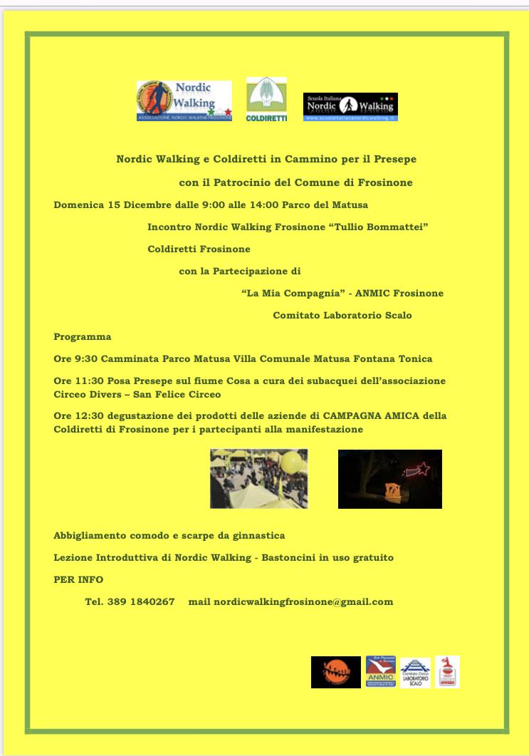 Nordic Walking e Coldiretti in cammino per il Presepe – 15 dicembre 2019 Frosinone