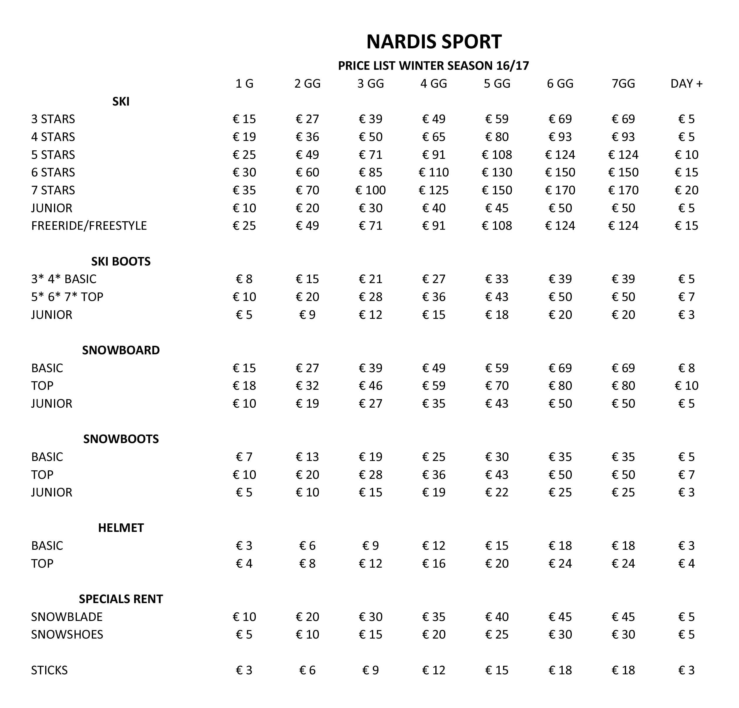 prezzi noleggio sci e snowboard Pinzolo Nardis Sport 2016-17
