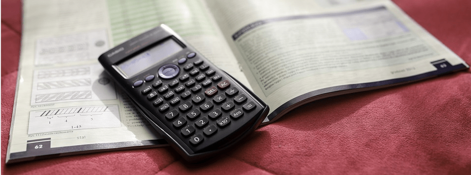 calculator on a book