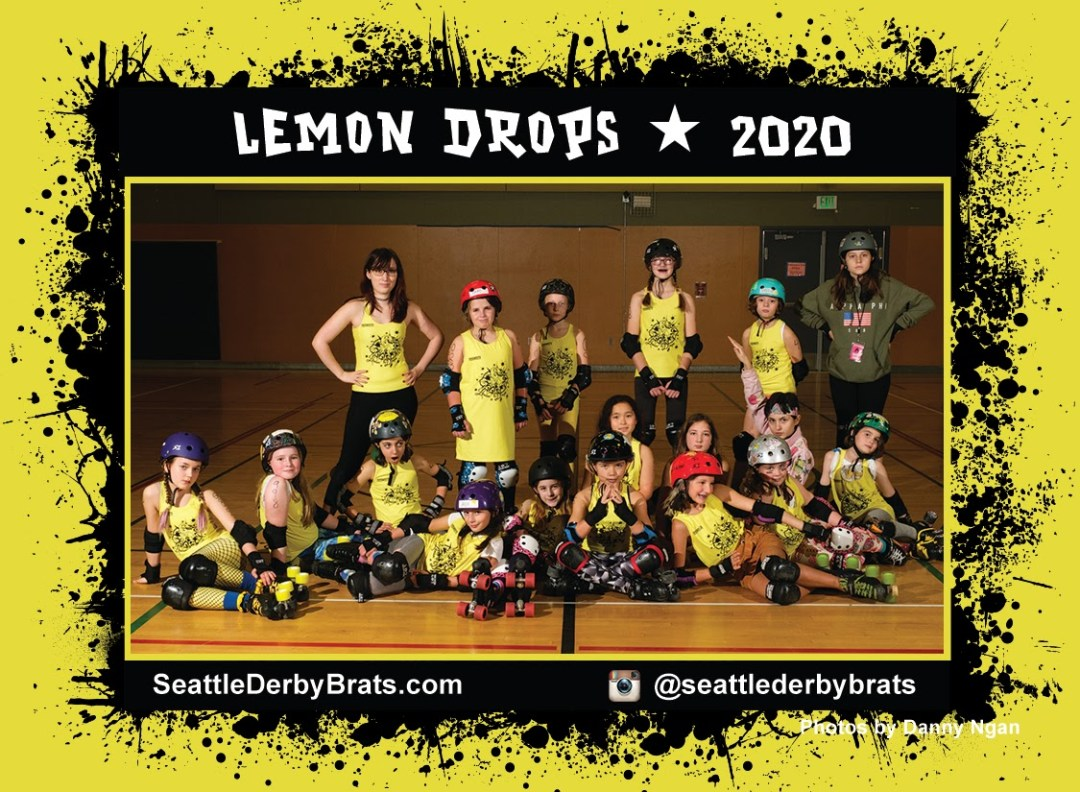 Lemon Drops 2020 Team Photo featuring the junior roller derby team in their yellow jerseys, safety gear, and helmets that showcase their personality.