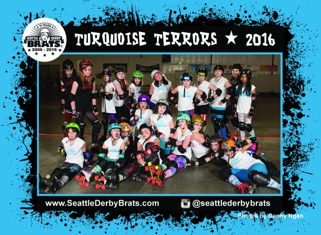 Turquoise Terrors 2020 Team Photo featuring the junior roller derby team in their yellow jerseys, safety gear, and helmets that showcase their personality.