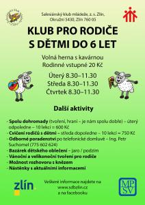 Plakátek klubu pro rodiče s dětmi