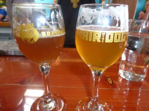 Blue Dot Double (left), Beer Week Strong Pale Lager (right).