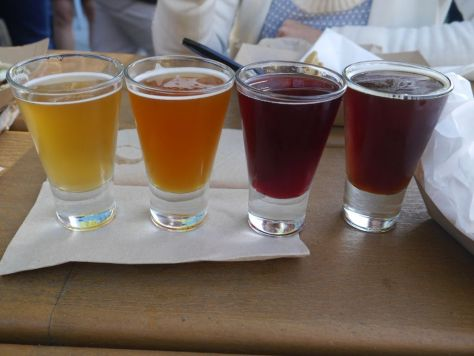 First set of tasters, Left to right, Brett Saison, Apricot Le Freak Barrique, Boysenberry Saison, Candella Barley Wine.