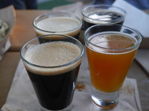 Second set of tasters, Cask Silva Stout front left, Black Tiger, back left, Coffee Silva Stout right back, Apricot Le Freak front right.