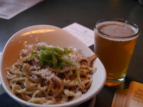 IPA with happy hour garlic noodles.
