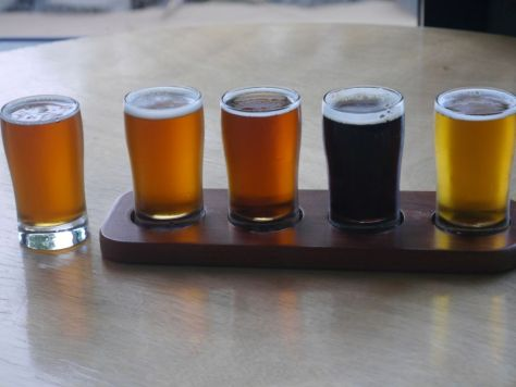 Offbeat brewing company taster flight.