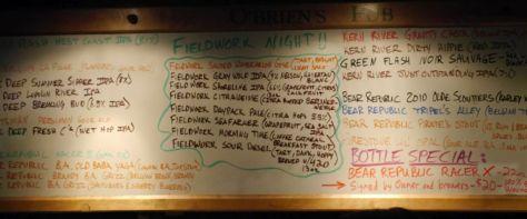 O'Brien's Tap List for Fieldwork Day.