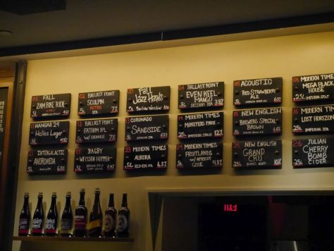 Regent's Pizza Tap List.