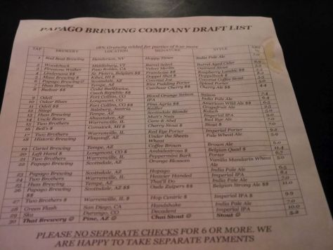 Tap list at Papago