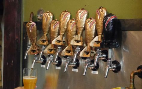 Tap handles in the shape of bombs.