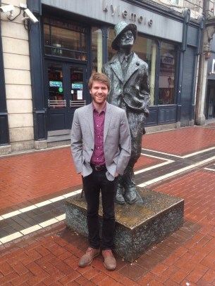 Standing by the statue of James Joyce in Dublin, Ireland—one of my favorite fiction writers.