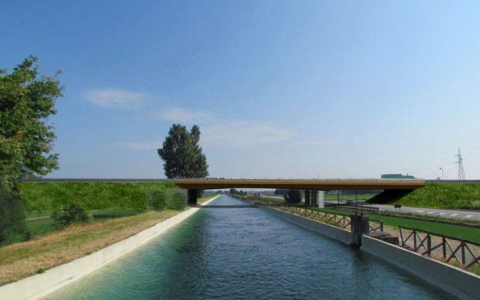 Il nuovo tratto della tangenziale, in un rendering che rappresenta l'attraversamento della SR 32