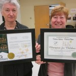 Lynn Binney & Dorothy McPhail with Civic Award and Certificate of Appreciation