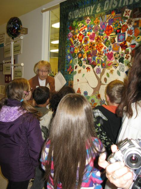 Doris McLaren with school children