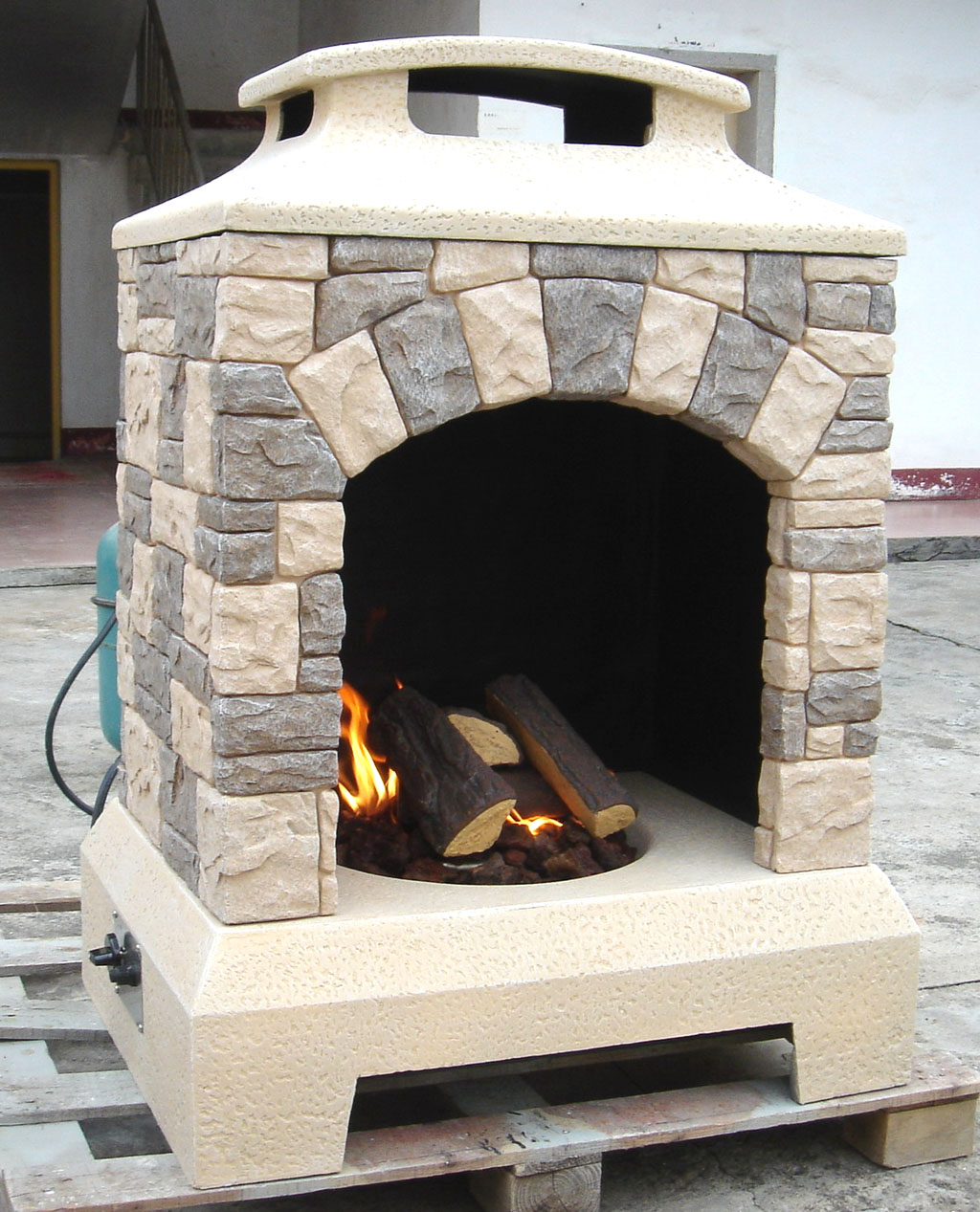 Gas Fireplace Fire Pit Outdoor Tuscan Style Stone W Logs
