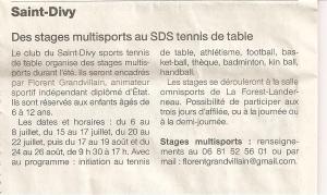 stage multisport tennis de table