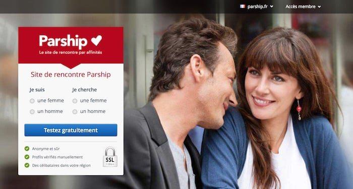 Page d'accueil du site de rencontre parship.fr