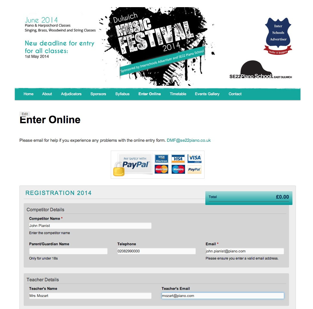 Dulwich Music Festival Online Entry Guide