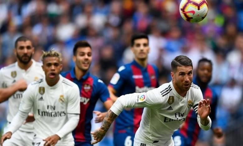 """في الليجا الأسباني"""" ريال مدريد بمواجهة ليفانتي اليوم."""