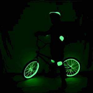 Bike and rider equiped for safety after dark