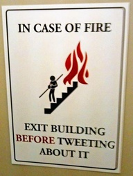 Exit building before tweeting