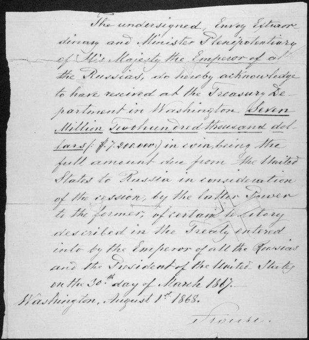 1866 Sale of territory of Alaska