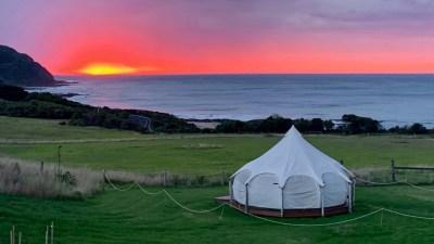 tent and pink sky close up